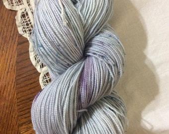Fingering weight Hand dyed OOAK sock yarn superwash fine highland wool/polyamide (nylon) blend 80/20 daisy base (blues and mauves)