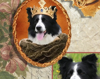 Custom Original Nobility Dog ,Cat Portrait with a PENDANT or BROOCH by Nobility Dogs