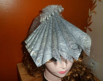 Bibi or fascinator evening or bridal fabric and beads