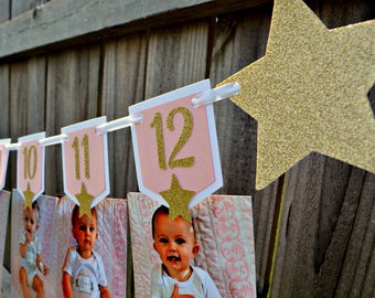 Twinkle Twinkle Little Star First Birthday Photo Banner.  Twinkle Twinkle Little Star Birthday Decorations. 12 Month Photo Banner.