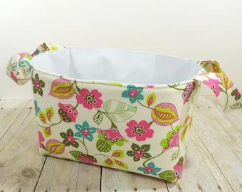 Cream Mod Floral Fabric Storage Basket - Diaper Caddy - Toy Storage