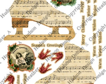 Victorian Vintage Holly Christmas Natural  Music Paper Skate winter tags Ornament  Digital Collage sheet Printable