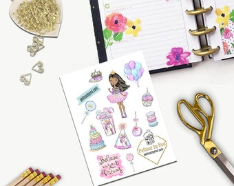 Birthday Princess Stickers, All Happy Planner Stickers, Add On Set, Stickers, Printed, Cut, Functional Sticker, Any Planner, Unicorn, Cake