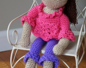 Crochet Doll with Pink Lace Shirt