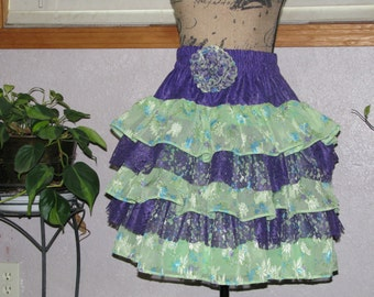 Adorable green and purple layered skirt