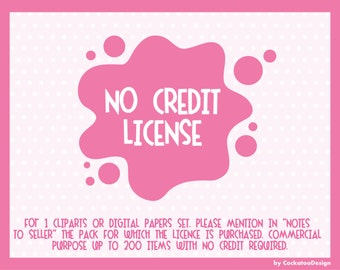 Commercial no credit license for cliparts and digital papers