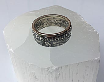 Ring coin 10 escudos from Portugal in Silver (coin ring)