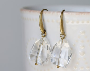 Clear Glass Nugget Dangle Earrings