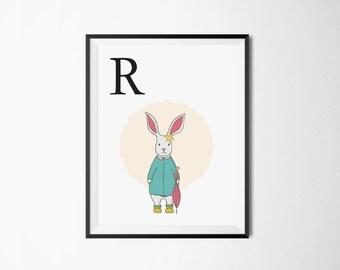 Alphabet Art Print R | Rabbit, Rain, Wall art, Baby Nursery Art Print, Alphabet letters, ABC letters, Animals print, Fun Cute Art Print