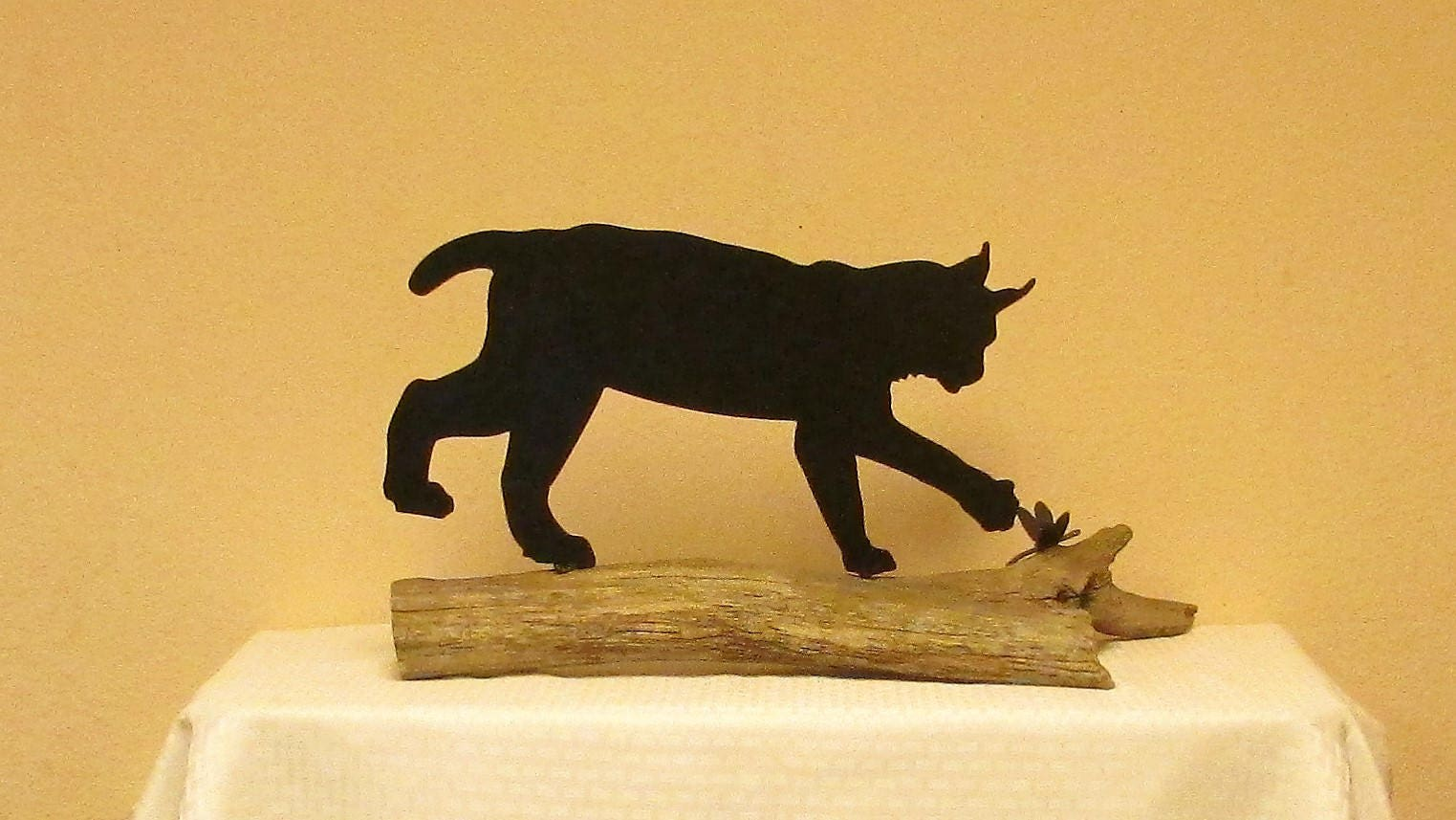 Lynx Bob Cat Metal Art Wildlife Trapper Handmade