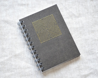 Gold and Black Geometric Mini Notebook - Hand Embroidered