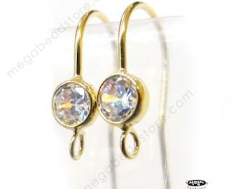CZ Bezel French Gold Earwires Gold Filled Earring Hook F136GF- 2 pcs
