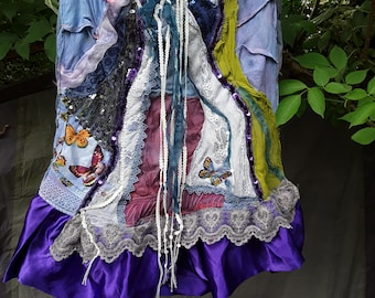 OffYourHead Couture, Waterfall Skirt, applique skirt, wearable art, UK 8