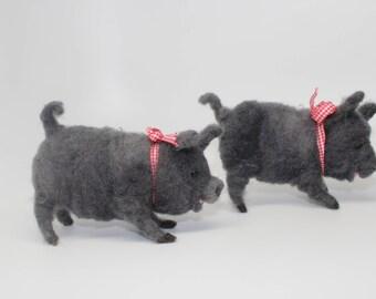 wool needle felted Pig