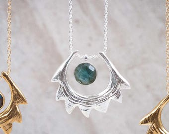 Spire Shell Necklace   Sterling Silver and Labradorite Necklace   Statement Necklace