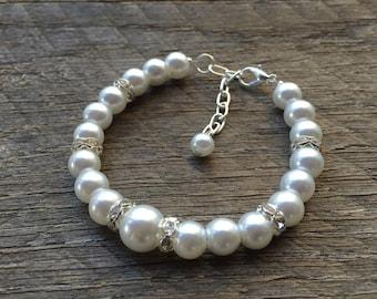 White Pearl Bracelet Crystal Bridal Bracelet Rondelle Accent Findings on Silver or Gold Chain Bridal Bracelet