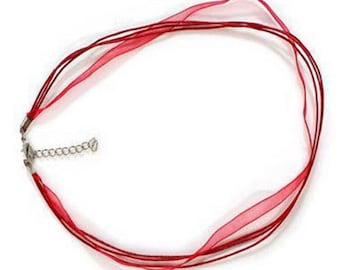 6 necklaces in red cotton and organza
