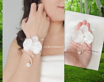White Orchid wedding bracelet and pearl beads