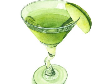 Green martini with lime – original watercolor