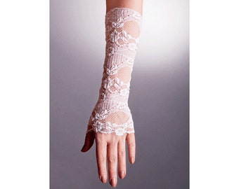 White WEDDING Lace GLOVES Fingerless,Lace Wedding Gloves,White Lace Gloves,White Lace Gloves,Long Lace Gloves