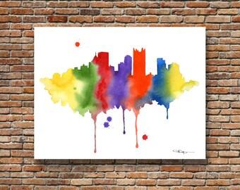Pittsburgh Skyline - Abstract Watercolor - Pennsylvania Art Print - Wall Decor