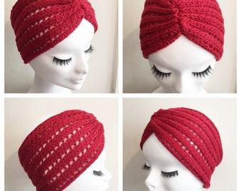 SPRING HEADBAND Red Vintage Inspired handknitted headband Vegan wool