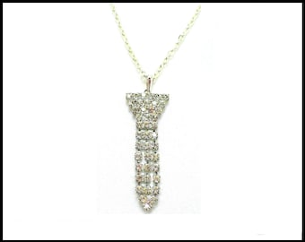 Long Rhinestone Pendant & Chain, Multi Strand Pendant, Large Bale, Stage Performance, Formal Necklace, Gift for Her