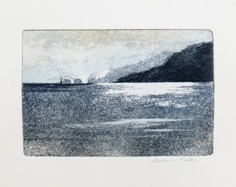 original etching and aquatint of the coast of the Isle of Wight, The Needles, England United Kingdom