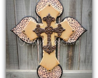 Wall Cross - Wood Cross - Medium - Leopard/Cheetah print, Antiqued Tan, Iron Cross