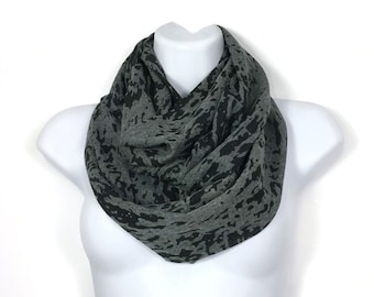 Black and Gray Chunky Infinity Scarf Black and Gray Infinity Scarves Camo Fashion Scarf Women's Infinity Scarves Lightweight Infinity Scarf