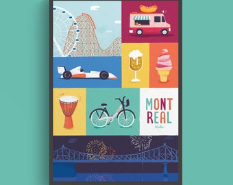 Printed poster - Illustration of Montreal in summer