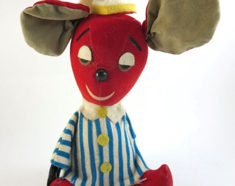 Vintage 1950s Stuffed Dream Pets R. Dakin & Co. Red Christmas Mouse Collectible Night Owl Toy made in Japan