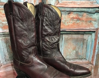 Mens Vintage Dan Post Cowboy Boots / Size 11 / Dark Burgundy Brown