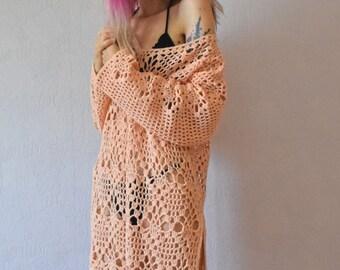 Crochet Dress. Peach-colored Tunic. Hand Knitted Dress. Beach Dress. Oversized Tunic. Boho style