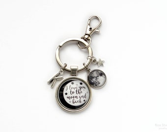Personalized Keychain, Full Moon Key Chain, I love you to the Moon and Back, Galaxy Space Key-chain, Astronomy jewelry, Initial Gift For Her