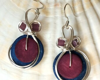 Blue and Purple Earrings, Fun Jewelry, Colorful Jewelry, Boho Chic Earrings, Purple and Blue, Bohemian Jewelry, Large Earrings