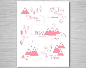 Pink PNW Print - Digital Art - Print at Home - Pacific Northwest Print - Nursery Digital Download Wall Art - 8x10 Nursery Art Printable