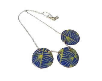 graphic Necklace blue and yellow necklace lines clean enameled copper