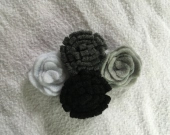 Flower Hair Clip, Felt Flower, Flower Barrette, Four Flower Hair Clip, Children's Hair Clip, Wedding Hair Clip, Bridesmaid Hair, Hair Piece