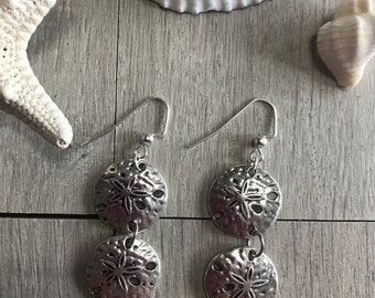 Sand dollar dangle earrings