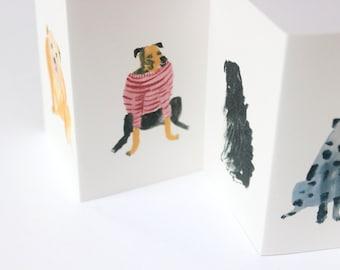 Mini dog zine concertina book    FIVE HIDEOUS HOUNDS