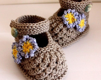 Knitting Pattern (PDF file) Forget-Me-Not Baby Shoes (0-6/6-12 months)