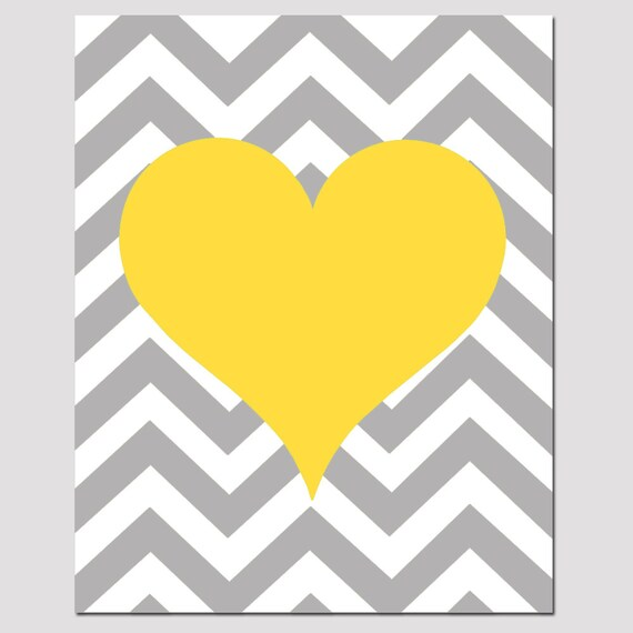 Chevron Heart 11x14 Print Kids Wall Art For Nursery Or