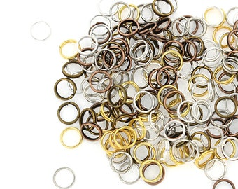 50 Split Rings 7mm x 0.7mm Assorted Finishes - Copper, Bronze, Gold, Silver and Gunmetal Tones - FD377