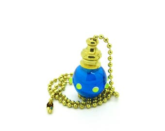 Pull Chain for Fans and Lights - Handmade Venetian Glass - Aqua with Lime-y Green Dots - 18 inch Brass or Nickel Chain - Lampwork Glass