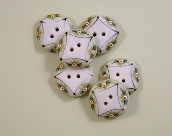 Sage and Yellow Button set of 6