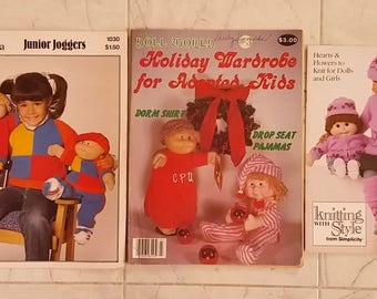 Lot of Cabbage Patch Kids Sewing and Knitting patterns Patons 1030 Doll World #3 Simplicity 0418
