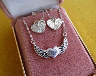 Vintage Winged Hearts Necklace and Earrings - Etched Silver Metal Set - Nancy Rise of New York - Lobster Clasp Closure - Hearts with Wings