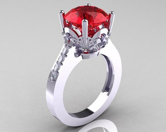 Classic 10K White Gold 3.0 Carat Rubies Diamond Solitaire Wedding Ring R301-10KWGDR