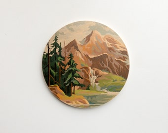 Paint by Number Large Circle Art Block 'Twin Peaks' - mountain valley,  vintage landscape